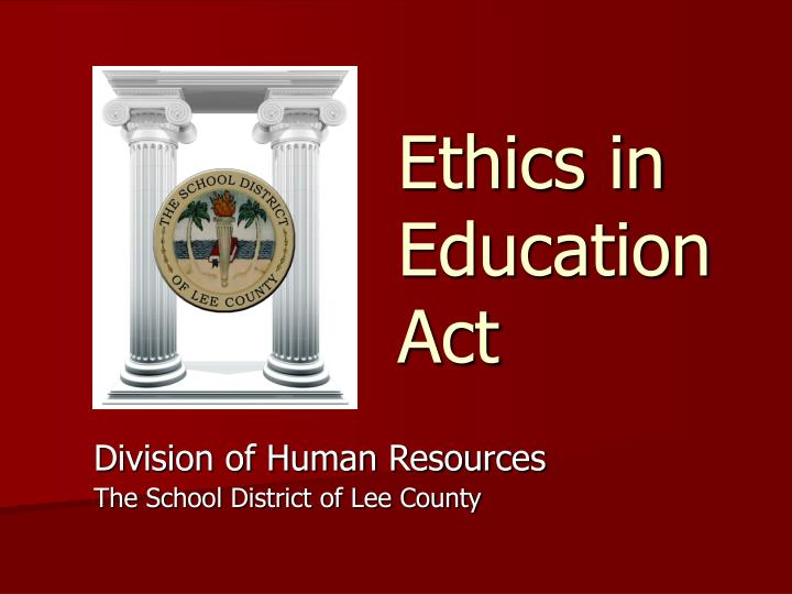 ethics in education act n.