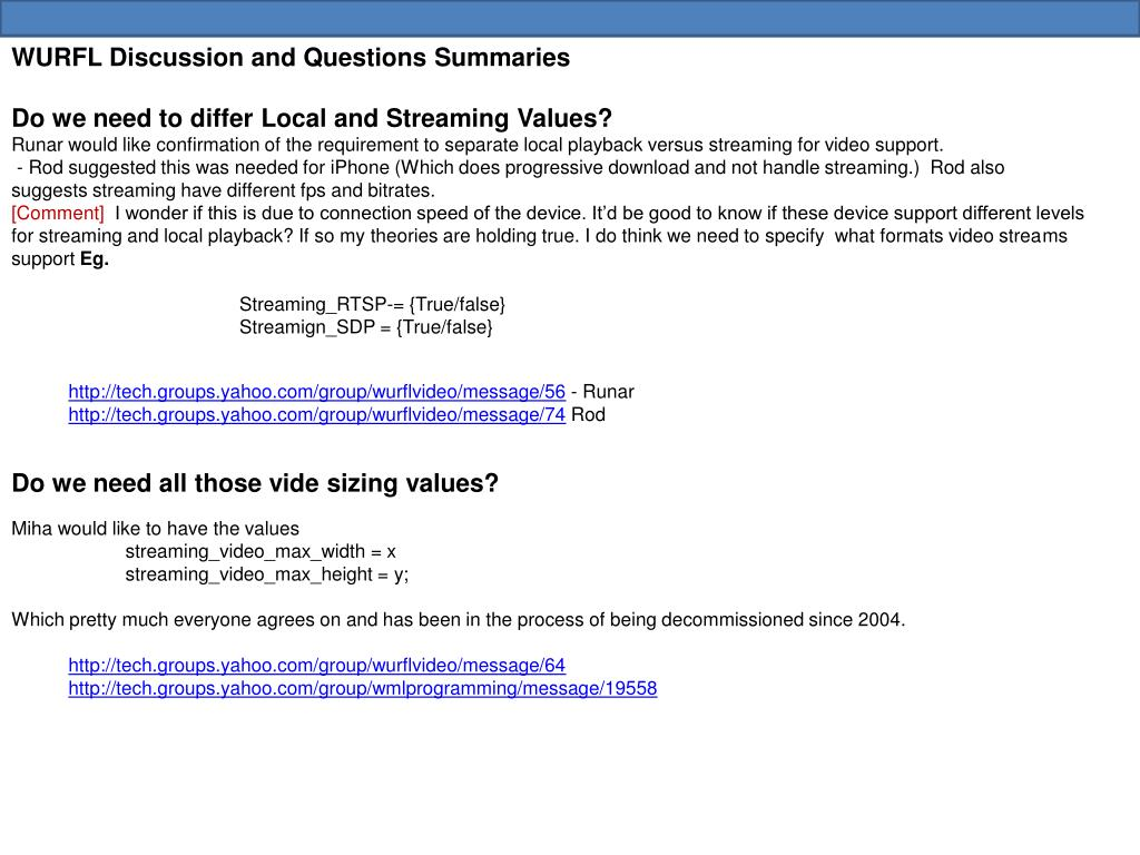 WURFL Discussion and Questions Summaries