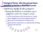 category three has the person been regarded as having a disability cont d