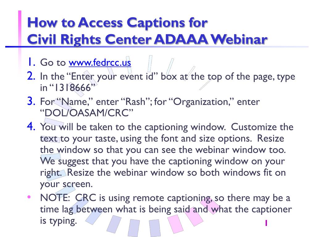 how to access captions for civil rights center adaaa webinar l.