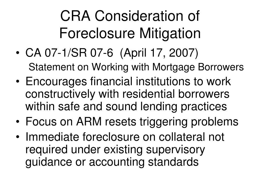 CRA Consideration of