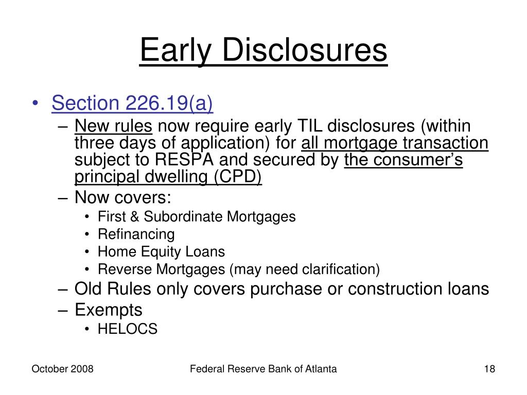 Early Disclosures