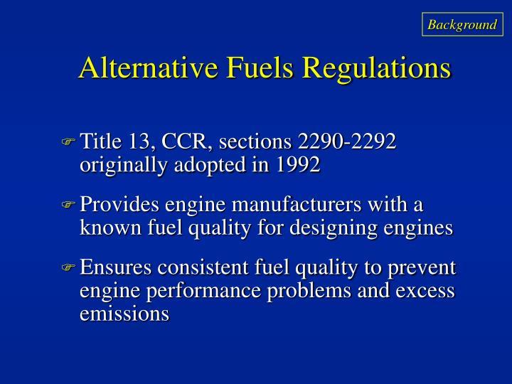 Alternative fuels regulations