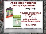 audio video wordpress landing page system