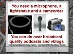 you need a microphone a lightsnake and a camcorder