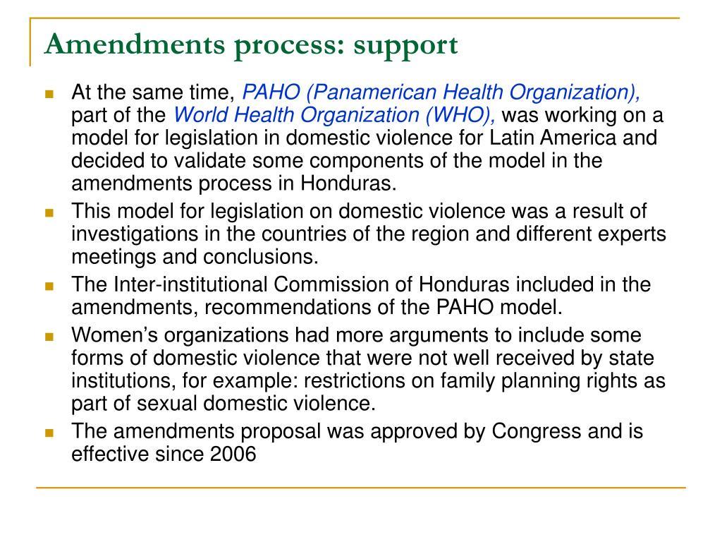 Amendments process: support
