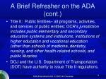a brief refresher on the ada cont