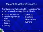 major life activities cont