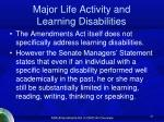 major life activity and learning disabilities