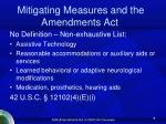 mitigating measures and the amendments act