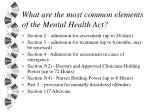 what are the most common elements of the mental health act