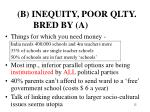 b inequity poor qlty bred by a