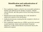 identification and authentication of identity 99 31 c