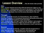 lesson overview two 50 minute class periods
