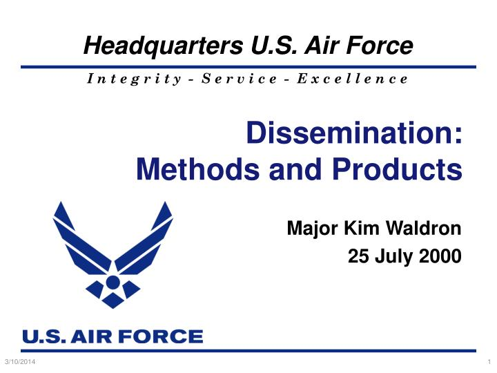 dissemination methods and products n.