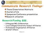 communicate research findings