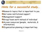 hints for a successful study