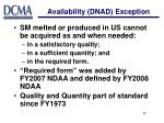 availability dnad exception