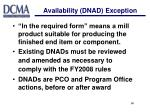 availability dnad exception18