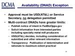 availability dnad exception19