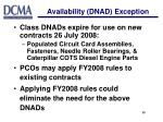 availability dnad exception20