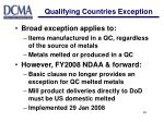 qualifying countries exception