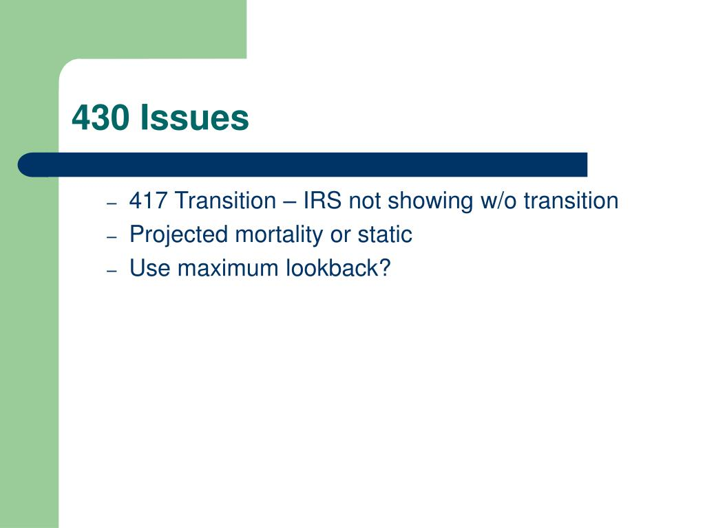 430 Issues