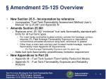 amendment 25 125 overview