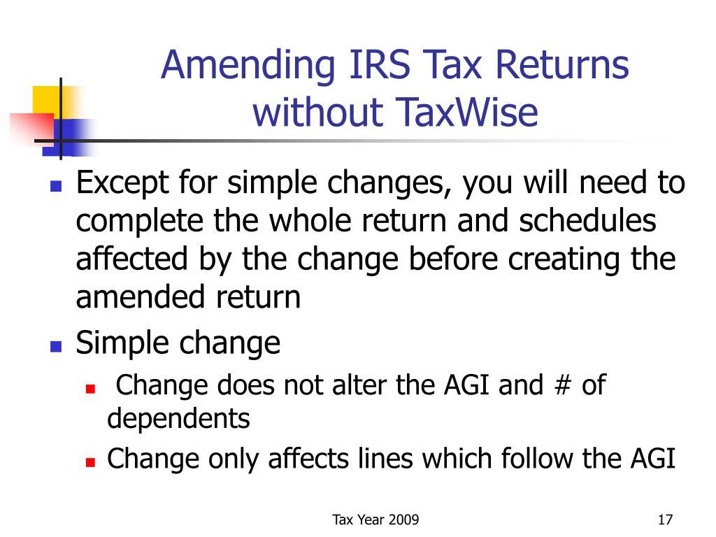 Amending IRS Tax Returns