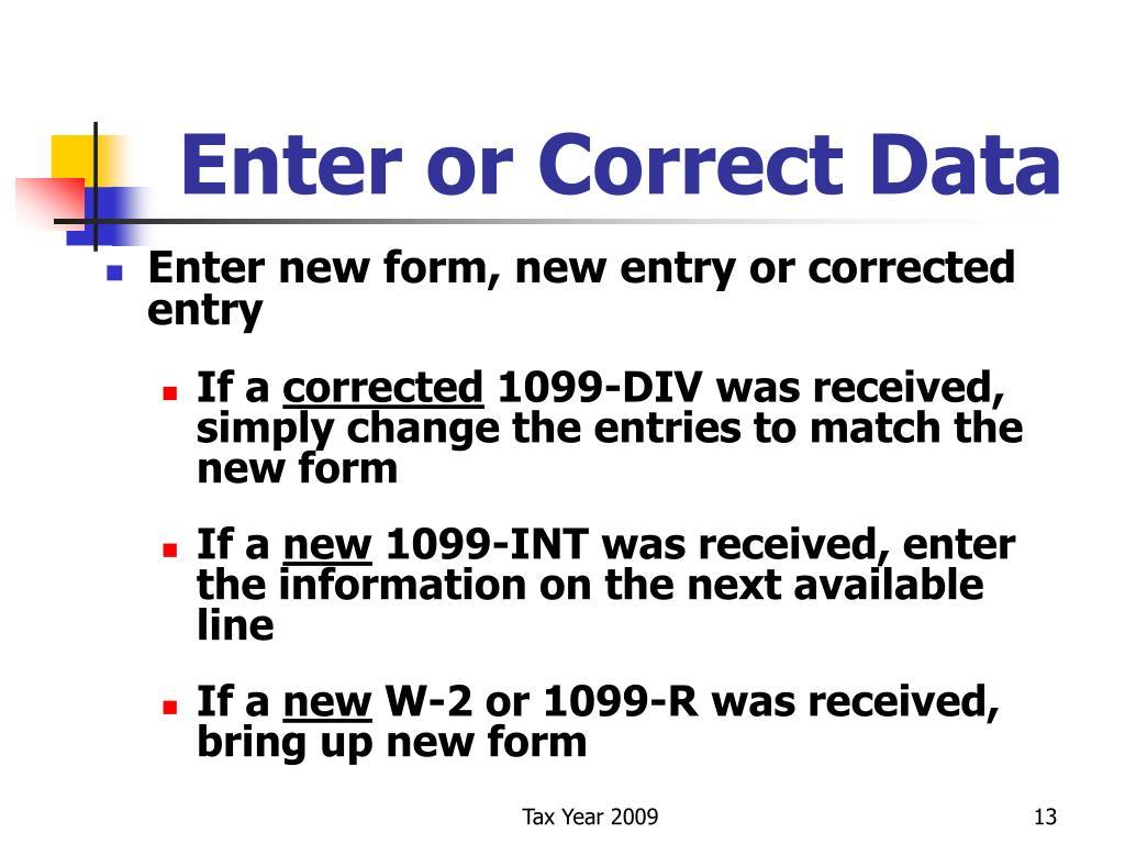 Enter or Correct Data