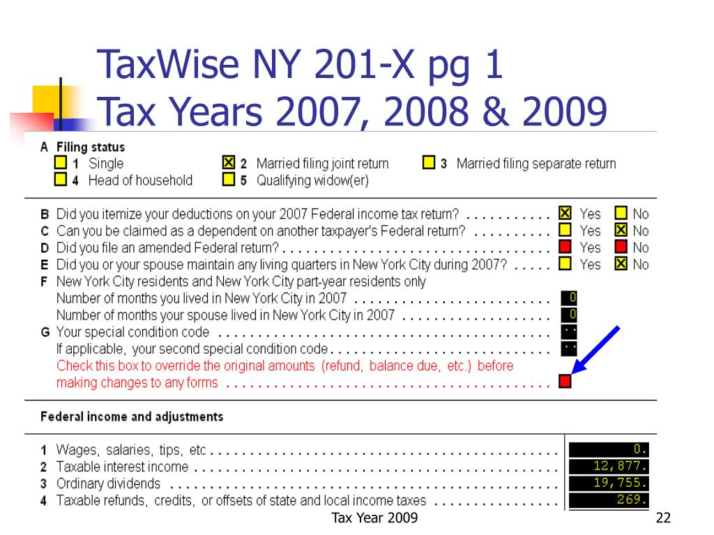 TaxWise NY 201-X pg 1