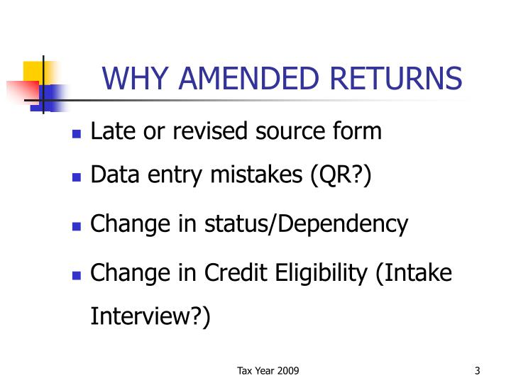 Why amended returns