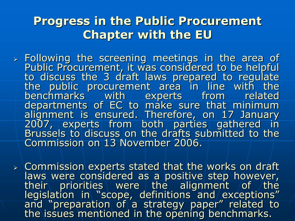 Progress in the Public Procurement Chapter with the EU