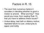 factors in r 15
