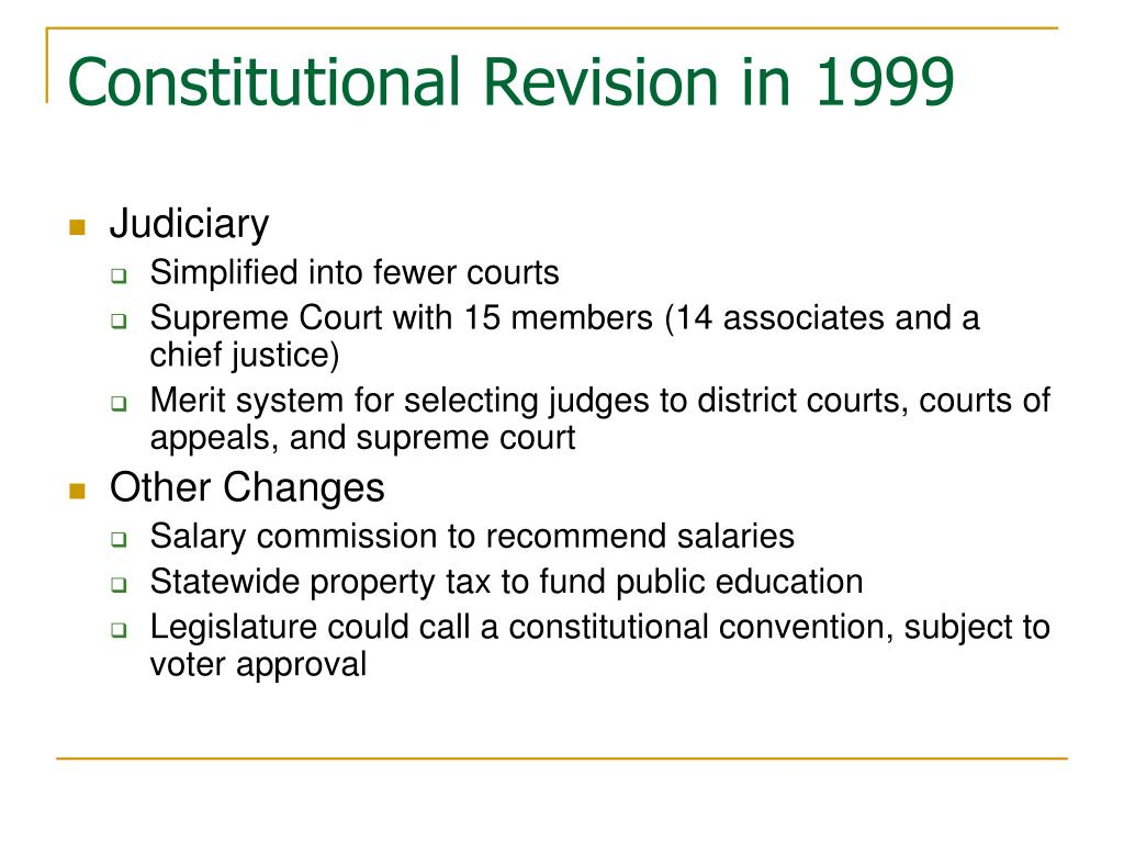 Constitutional Revision in 1999