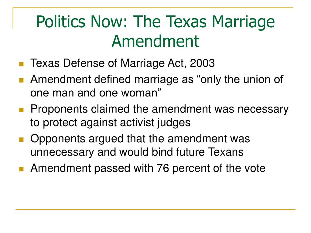 Politics Now: The Texas Marriage Amendment