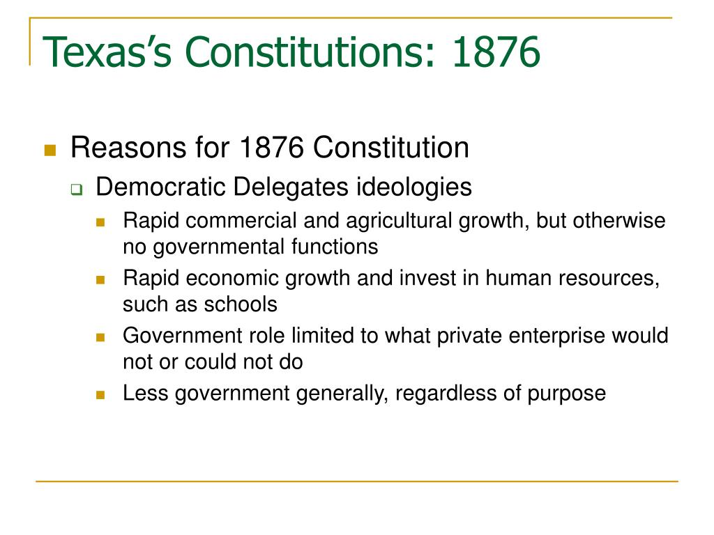 the texas constitution of 1876 essay Article i: bill of rights, constitution of the state of texas (1876.