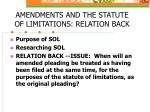 amendments and the statute of limitations relation back
