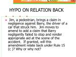 hypo on relation back