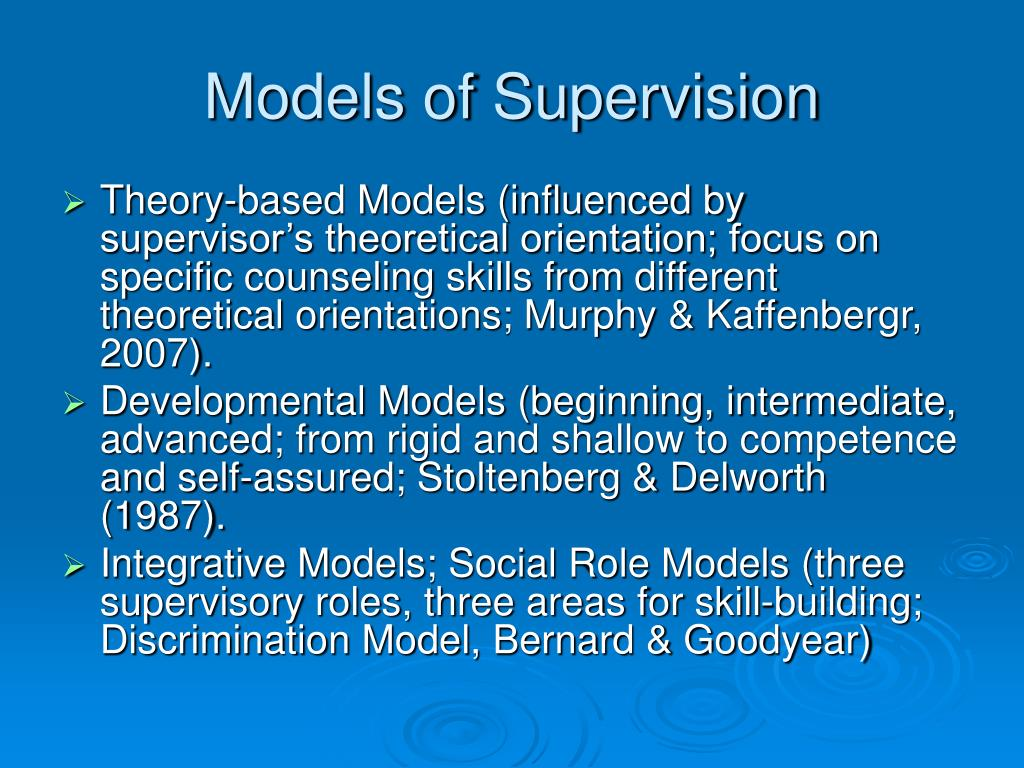 Models of Supervision