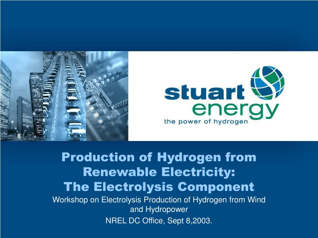 production of hydrogen from renewable electricity the electrolysis component l.