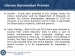 library automation proviso