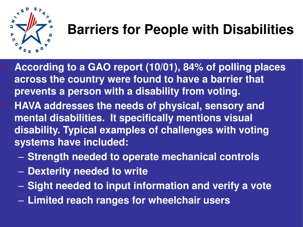 Barriers for People with Disabilities