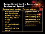 composition of the city cooperative development council