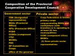 composition of the provincial cooperative development council