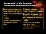 composition of the regional cooperative development council