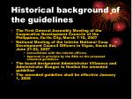 historical background of the guidelines