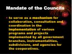 mandate of the councils
