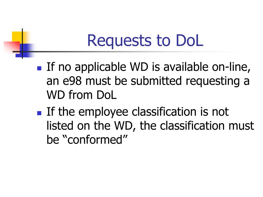 Requests to DoL