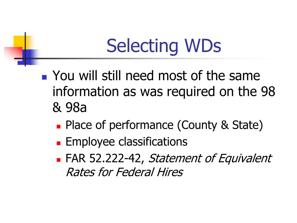 Selecting WDs